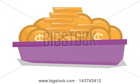 Golden coins in the bowl vector flat design illustration isolated on white background.