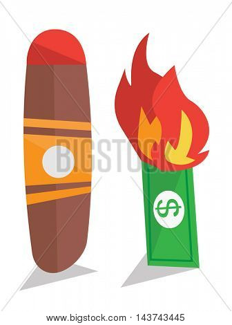 Dollar bill on fire and cigar vector flat design illustration isolated on white background.