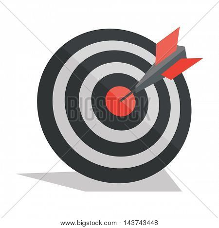 Darts arrows in the target center. Concept of achievement business goal. Vector flat design illustration isolated on white background.