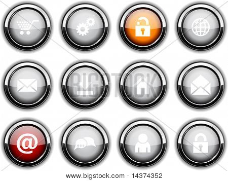 web set of round glossy icons.