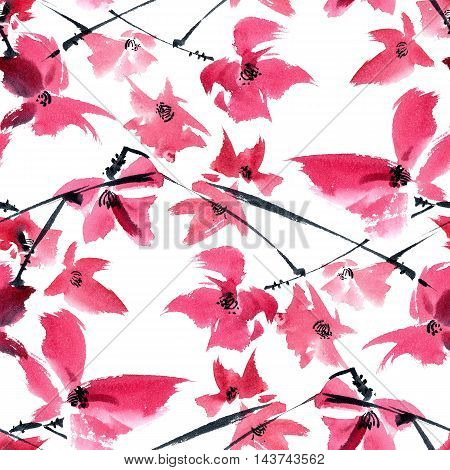 Watercolor and ink illustration of pink flowers on the tree brunch. Oriental traditional painting in style sumi-e gohua. Seamless pattern.