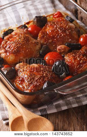 Roasted Pieces Of Chicken With Mustard, Tomatoes And Mushrooms. Vertical