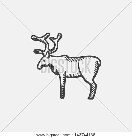 Deer sketch icon for web, mobile and infographics. Hand drawn vector isolated icon.