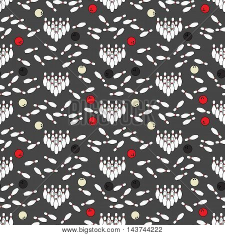 Seamless illustrated pattern made of bowling pins and balls