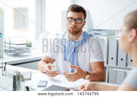 Male Manager Explaining Task