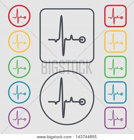 Heartbeat Icon Sign. Symbol On The Round And Square Buttons With Frame. Vector