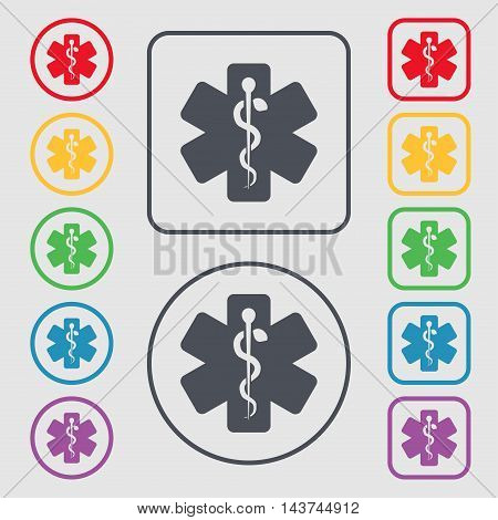 Medicine Icon Sign. Symbol On The Round And Square Buttons With Frame. Vector