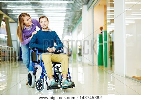 Handicapped Man in Shopping Centre