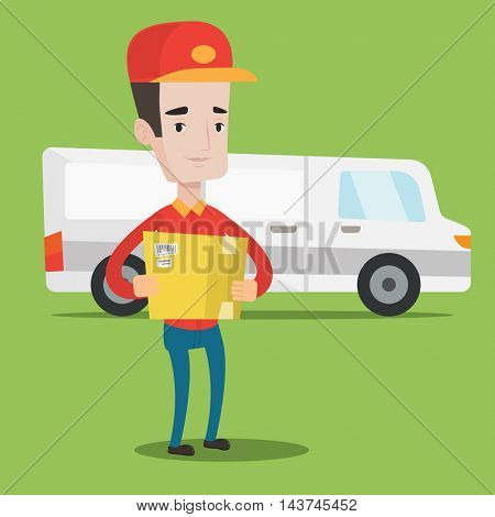 Delivery man with box on background of delivery truck. Delivery man carrying cardboard box. Delivery man with a box in his hands. Vector flat design illustration. Square layout.