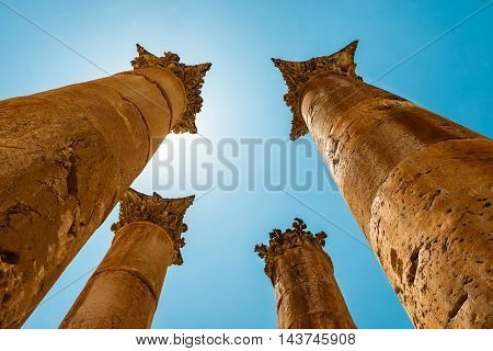Roman columns in the Jerash (Gerasa) Jordan. Ancient Jerash. Ruins of the Greco-Roman city of Gerasa Jordan.