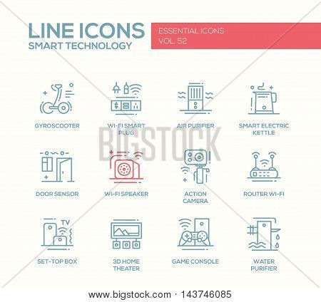 Smart Technology - modern vector plain line design icons and pictograms set. Gyrosooter, smart plug, air, water purifier, smart electric kettle, door sensor, router, set-top box, home theater, game console