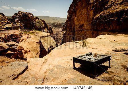 Bedouin's roaster in Petra mountains on Jordan