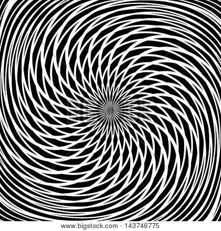 Circular rotation movement. Abstract textured background. Vector art.
