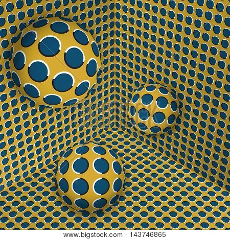 Visual illusion illustration. Three balls are moving on in the yellow blue expanding corner. Abstract polka dots fantasy in a surreal style.