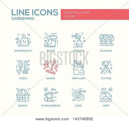 Gardening - modern vector plain line design icons and pictograms set. Watering pot, boots, sprayer, planting, tools, fertilizer, raking, cutting basket wheelbarrow hose crop