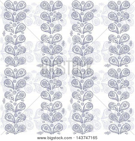 Paisley ink pattern - vector hand drawn ornament in ethnic style. Boho or tribal design.