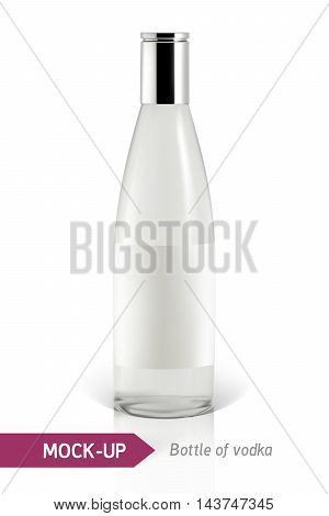 Realistic vodka bottle or other gin bottle. Mockup on a white background with shadow and reflection.