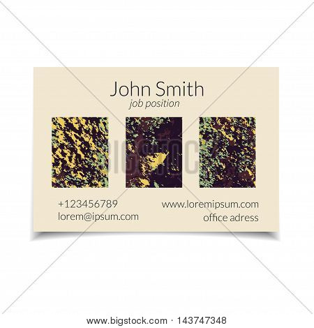 Vector business card set with abstract textured design. Soil texture. Isolated.