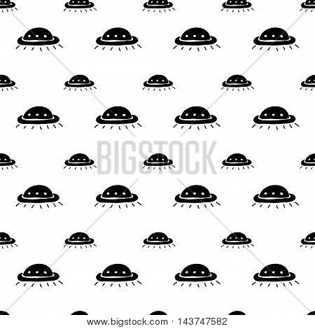 Vector hand drawn cartoon seamless pattern with ufo. Sci-fi theme. Black and white ufo pattern for paper textile polygraphy game web design