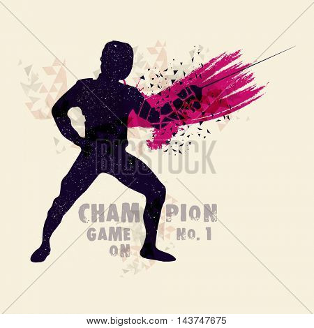 Creative abstract illustration of a Fencing Player for Sports concept.