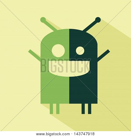 Vector flat robot icon. Isolated colored icon for logo web site design app UI. Flat robot illustration for posters cards book cover flyers banner web game designs.