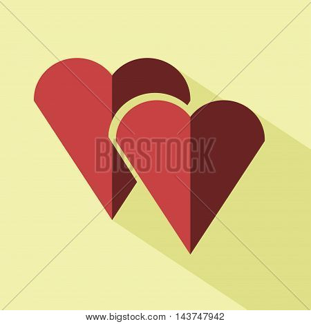 Vector colored hearts icon. Isolated icon for logo web site design app UI. Red hearts illustration for posters cards book cover flyers banner web game designs.