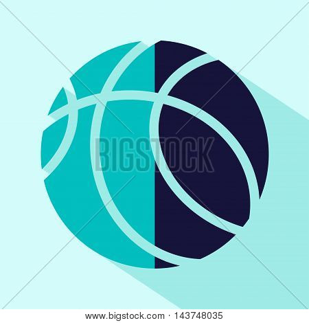Vector flat stylize basketball icon. Isolated colored icon for logo web site design button app UI. Blue basketball illustration for posters cards book cover flyers banner web game designs.