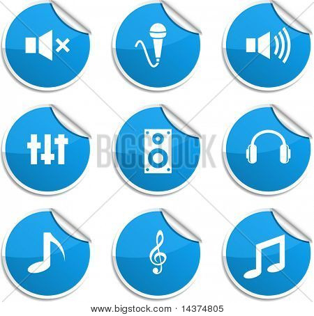 Audio set of round glossy stickers.