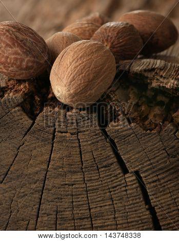 the a nutmeg on an old table