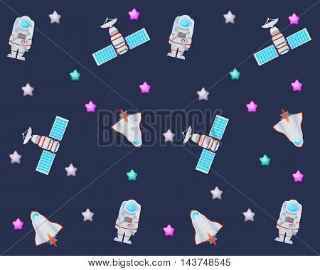 Background space. Spaceship, astronaut, satellite and star. Vector illustration
