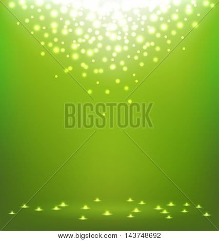 Beautiful abstract magic Light on green background