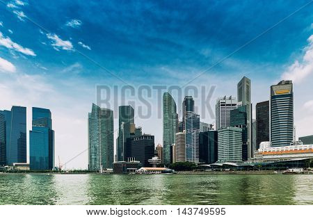 Singapore City, toned image,horizontal image, panoramic view
