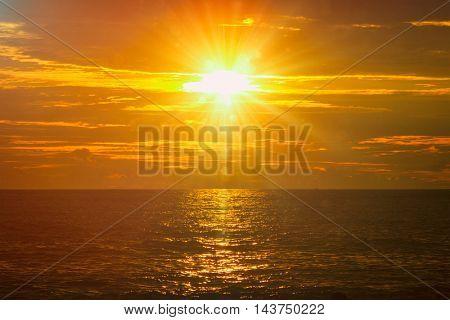 Ocean sunset with great cloudscape. Mirissa, Sri Lanka