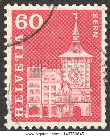 MOSCOW RUSSIA - CIRCA JUNE 2016: a post stamp printed in SWITZERLAND shows Clock Tower Bern circa 1960