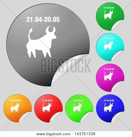 Taurus Icon Sign. Set Of Eight Multi Colored Round Buttons, Stickers. Vector