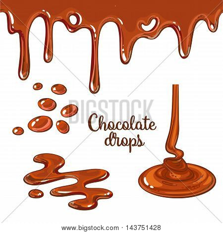Set of chocolate drops and blots, cartoon style vector illustration isolated on white background. Chocolate dropping and flowing, yummy cake decoration elements