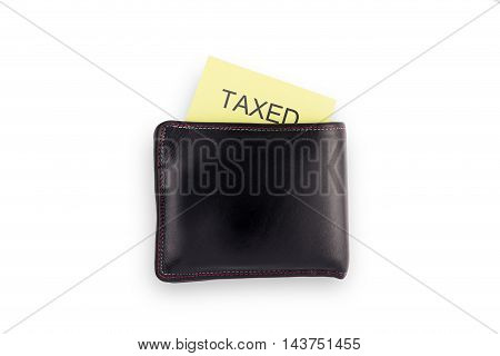 Black Wallet with tax isolated on white