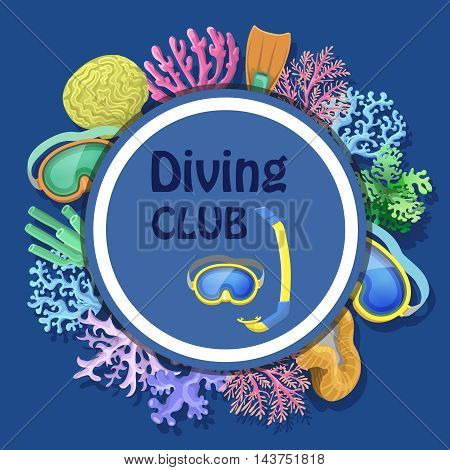 Diving club advertising with round decorative frame with mask, tube, corals illustration