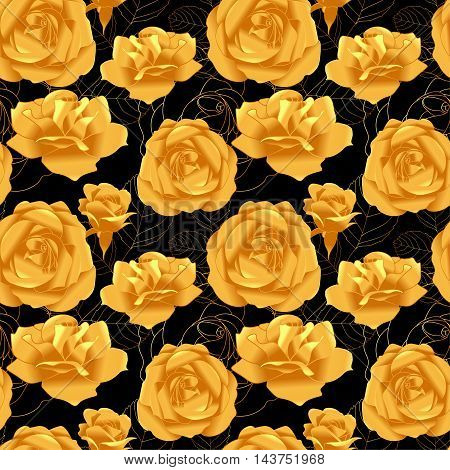 Seamless pattern with golden roses, vector illustration