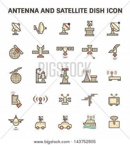 Antenna and satellite dish vector icon set isolated on white background.
