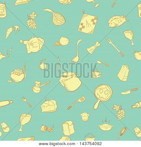 Cute kitchenware pattern perfect for printing on fabric and creating a wrapper for your handmade food. Also possible to use as a kitchen design as wallpaper or as a design element to your website.