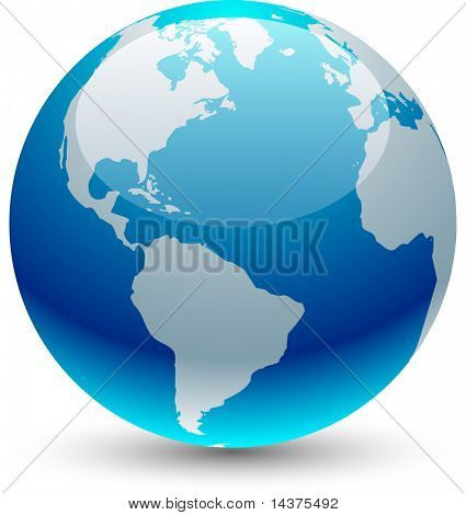 Glossy globe icon. Blue planet.