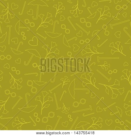 Happy Grandparents Day Background. Seamless Pattern. Household Items Backdrop.