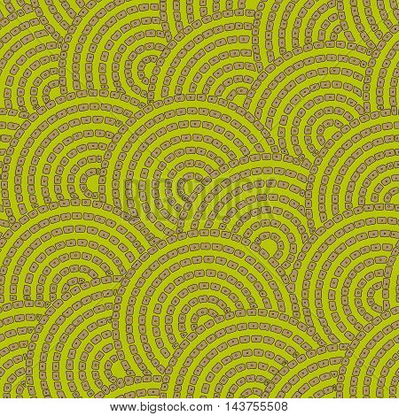 Tropical forest styled circles green and beige seamless pattern