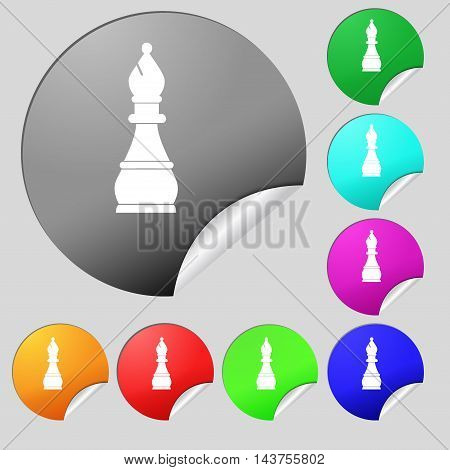Chess Bishop Icon Sign. Set Of Eight Multi Colored Round Buttons, Stickers. Vector