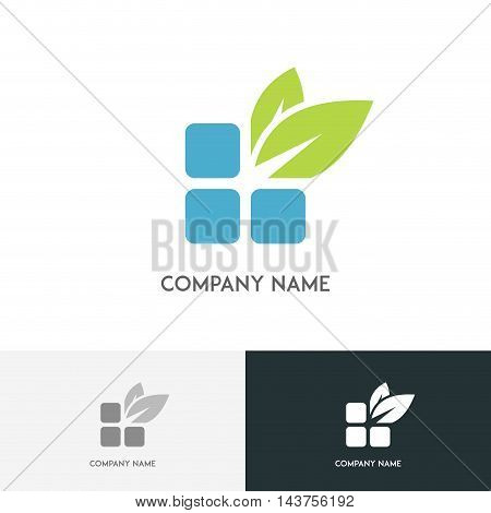 Nature logo - blue bricks and fresh green leaves on the white background