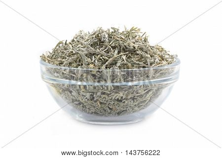 wormwood in glasswares on a white background