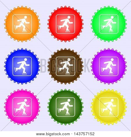 Roller Skating Icon Sign. Big Set Of Colorful, Diverse, High-quality Buttons. Vector
