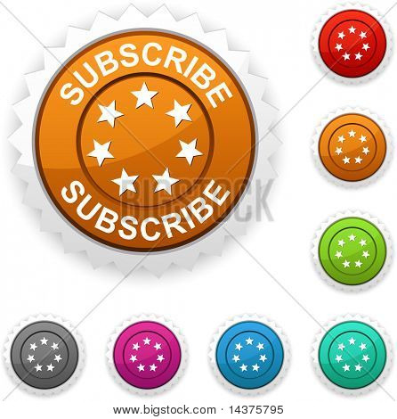 Subscribe  award button. Vector.