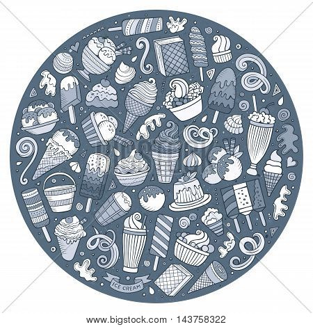 Line art vector hand drawn set of Ice Cream cartoon doodle objects, symbols and items. Round composition
